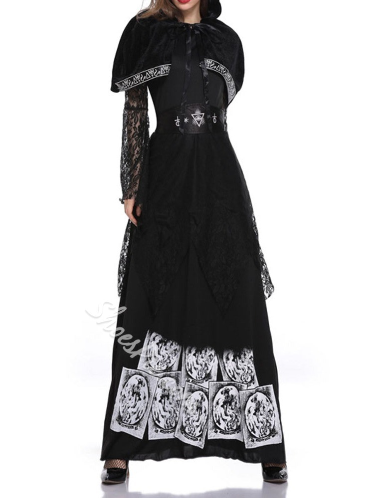 Patchwork Vintage Long Sleeve Classic Halloween Women's Costumes