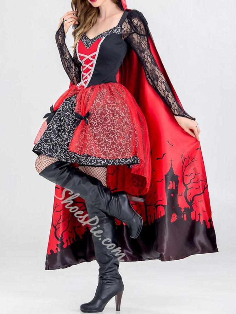 Lace Long Sleeve Vintage All-Season Women's Costumes