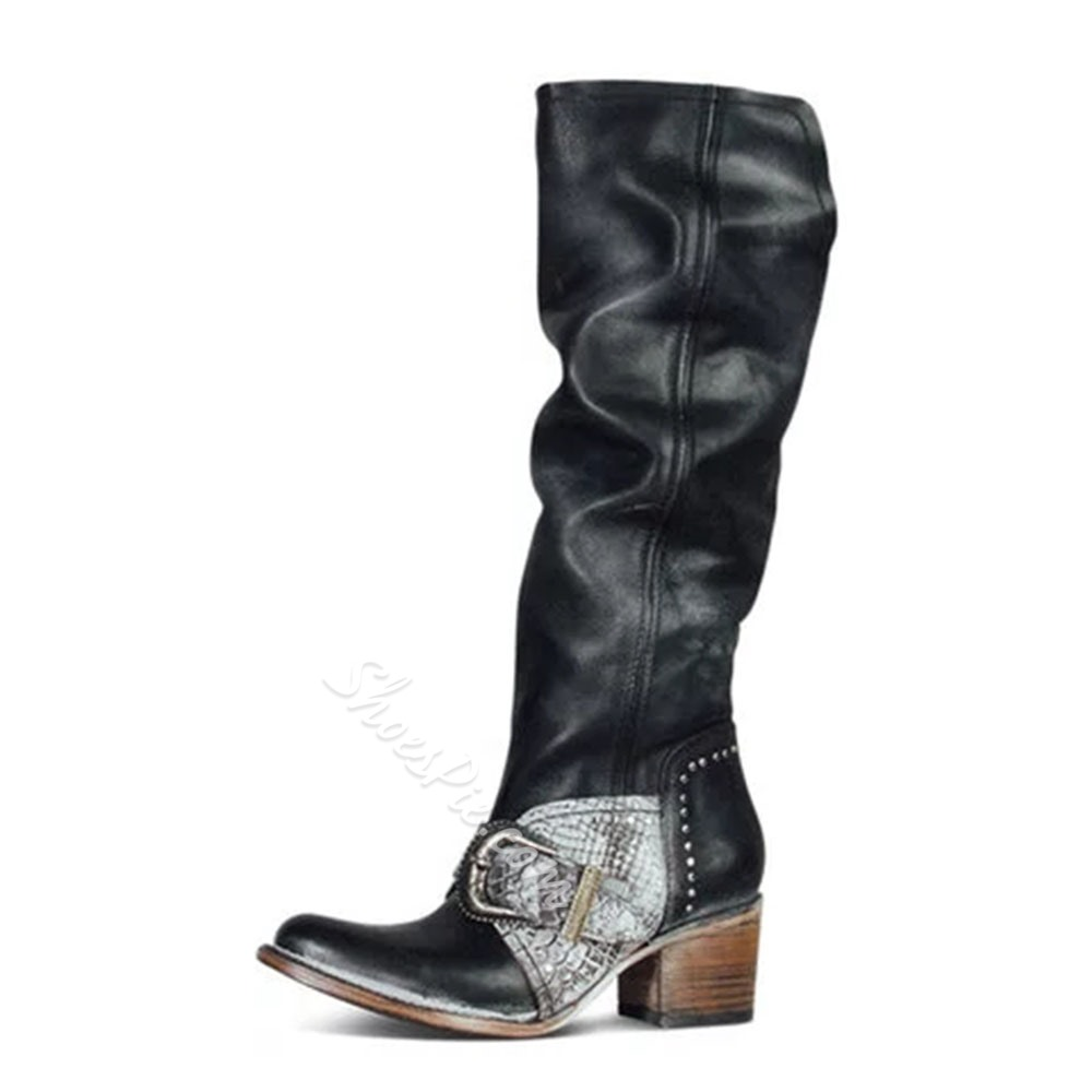 Shoespie Sexy Closed Toe Side Zipper Chunky Heel Western Boots