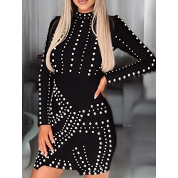 Long Sleeve Bead Above Knee Fashion Women's Dress