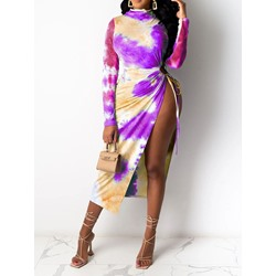 Tie-Dye Long Sleeve Mid-Calf Fashion Women's Dress