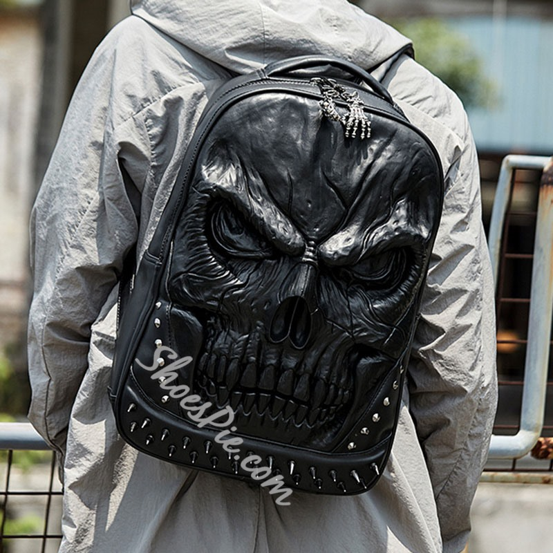 Shoespie PU Thread Skull Backpacks