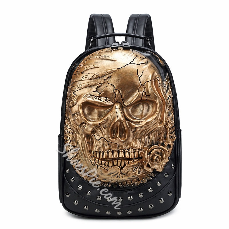 Shoespie PU Rivet Skull Backpacks