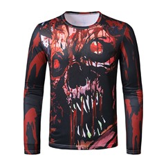 Print Round Neck Casual Pullover Slim T-shirt