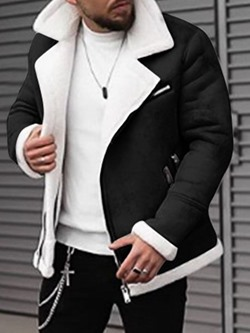 Lapel Color Block Patchwork Slim Winter Jacket