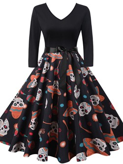Halloween Print Mid-Calf Nine Points Sleeve Winter Women's Dress