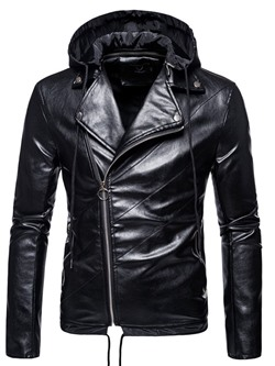 Standard Plain Lapel Fall Slim Leather Jacket
