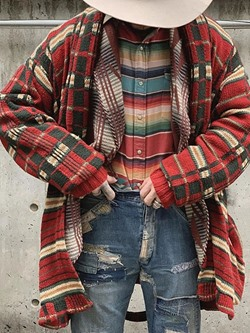 Mid-Length Plaid Loose Winter Sweater