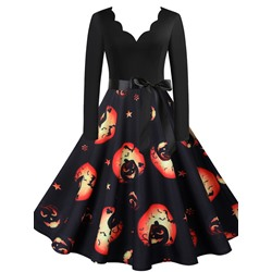 Print V-Neck Mid-Calf Vintage Women's Dress