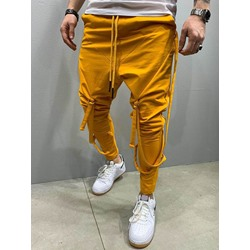 Plain Lace-Up Mid Waist Casual Pants