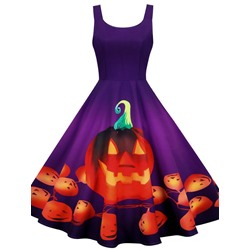Halloween Print Mid-Calf Sleeveless Pullover Women's Dress