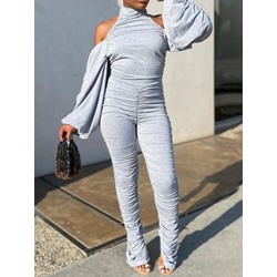Pleated Off Shoulder Plain Slim Women's Jumpsuit
