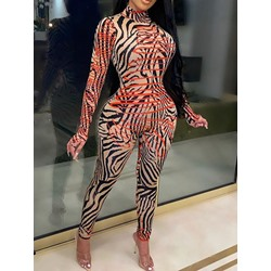 Ankle Length Color Block Sexy Slim Women's Jumpsuit