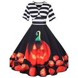 Halloween Print Short Sleeve V-Neck Regular Women's Dress