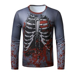 Round Neck European Print Slim Long Sleeve T-shirt