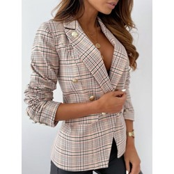 Long Sleeve Plaid Notched Lapel Fall Women's Casual Blazer