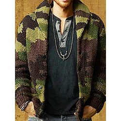 Standard Camouflage Lapel Slim Single-Breasted Sweater
