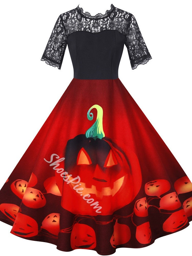Halloween Patchwork Short Sleeve Mid-Calf Regular Women's Dress