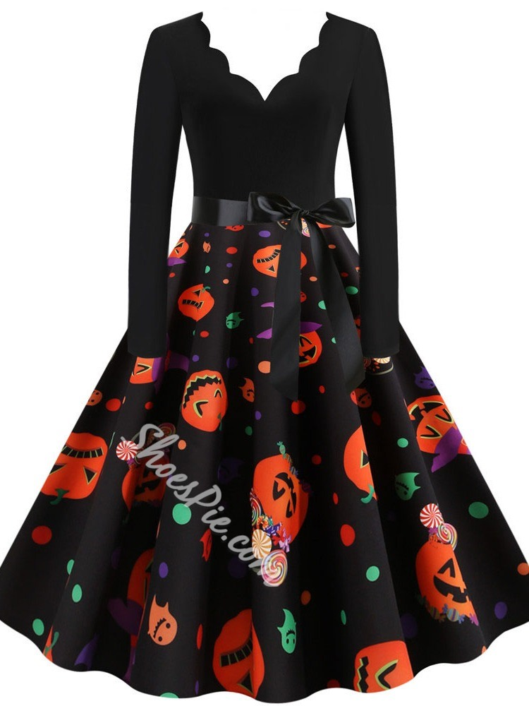 Print Long Sleeve Mid-Calf Party/Cocktail Women's Dress