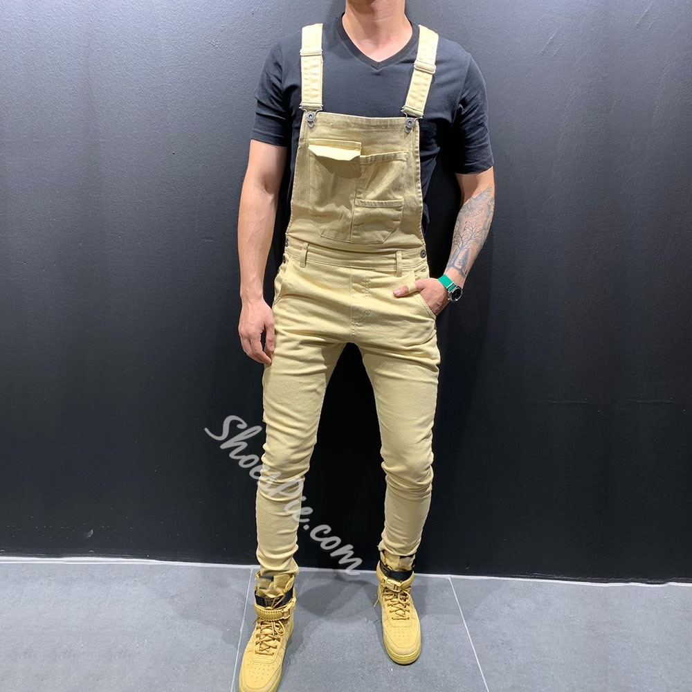 Full Length Plain Suspenders Casual Jumpsuits/Overalls