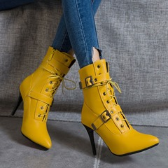 Shoespie Stylish Plain Stiletto Heel Side Zipper Buckle Boots