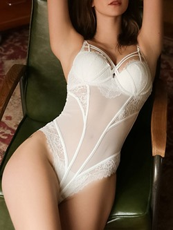 See-Through Spaghetti Strap Floral Polyester Tight Wrap Teddies & Bodysuits