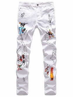 Cartoon Straight Print Mid Waist Four Seasons Casual Pants