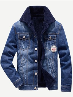 Appliques Lapel Thick Winter England Jacket