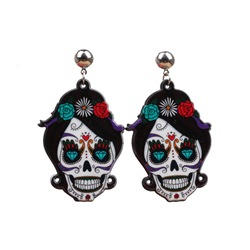 Acrylic European Skull Prom Earrings