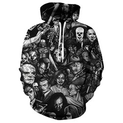 Print Pullover Skull Loose Hooded Hoodies