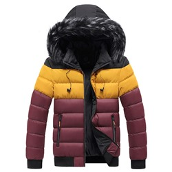 Stand Collar Standard Color Block Zipper European Down Jacket