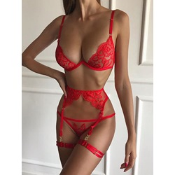 Three-Point Embroidery Lace Sexy Bra Sets
