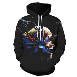 Pullover Skull Print Hooded Loose Hoodies