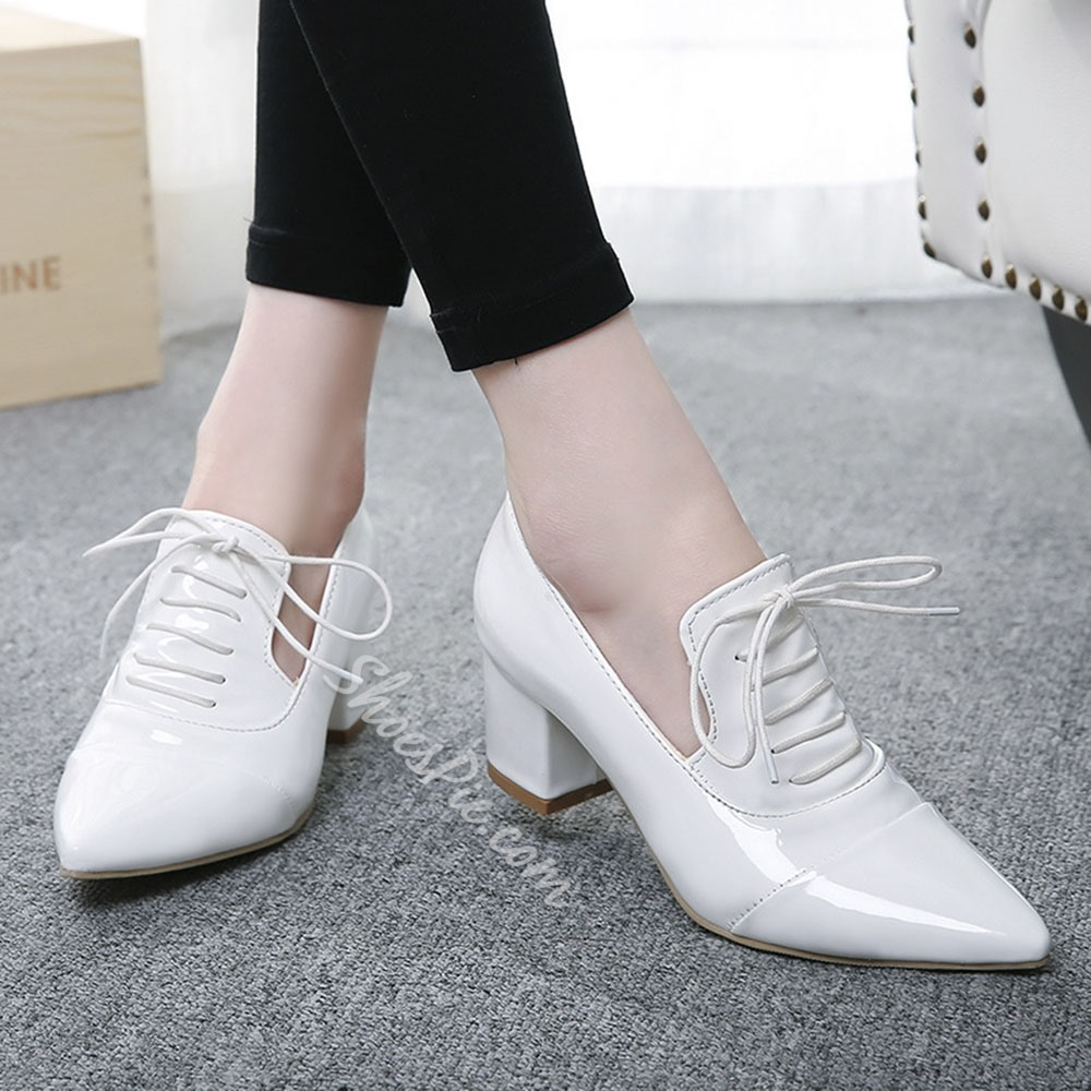 Shoespie Trendy Pointed Toe Chunky Heel Thread Plain Thin Shoes