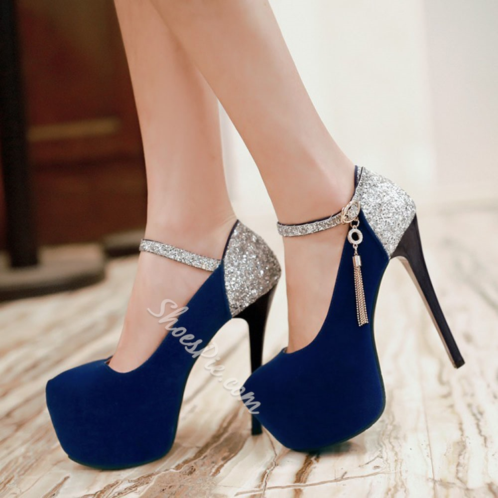 Shoespie Stylish Round Toe Stiletto Heel Sequin Banquet Thin Shoes