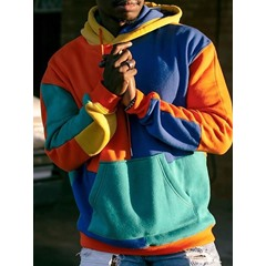 Color Block Patchwork Pullover Loose Pullover Hoodies