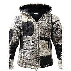 Hooded Color Block Patchwork Winter Casual Sweater