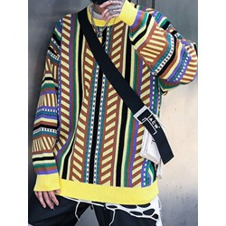Round Neck Patchwork Fall European Sweater