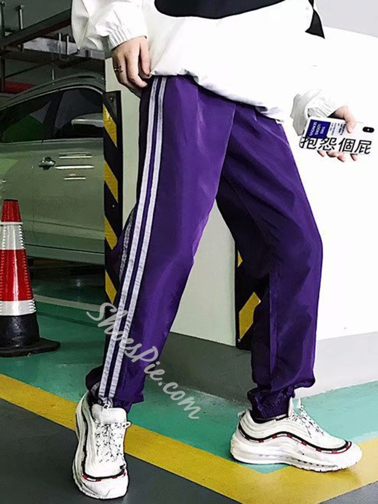 Patchwork Color Block Mid Waist Casual Casual Pants