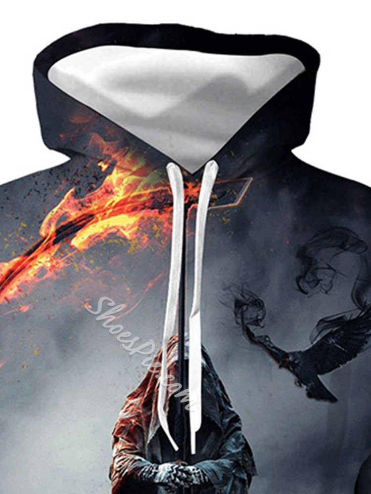 Pullover Print Hooded Loose Hoodies