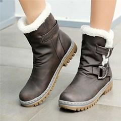 Shoespie Trendy Round Toe Block Heel Slip-On Buckle Boots