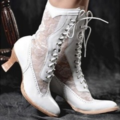 Shoespie Sexy Lace-Up Front Round Toe Patchwork Vintage Boots