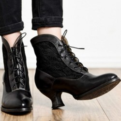 Shoespie Stylish Chunky Heel Round Toe Lace-Up Front Banquet Boots