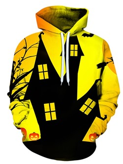 Pullover Print Yellow Hooded Loose Hoodies