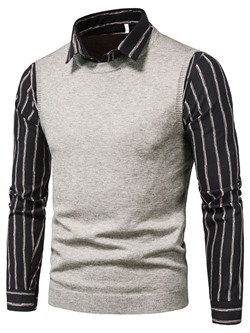 Lapel Stripe Patchwork Winter European Sweater