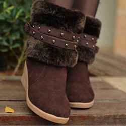 Shoespie Trendy Round Toe Patchwork Wedge Heel Casual Boots