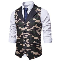Print Camouflage European Single-Breasted Waistcoat