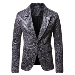 Casual Notched Lapel Print Leisure Blazer