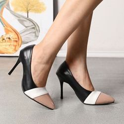 Shoespie Trendy Pointed Toe Slip-On Stiletto Heel Patchwork Thin Shoes