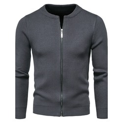 Standard Round Neck Plain Zipper European Sweater
